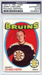 Gerry Cheevers Autographed 1971 O-Pee-Chee Card #54 Boston Bruins PSA/DNA #83466541
