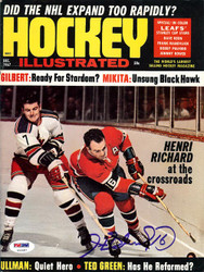 Henri Richard Autographed Hockey Illustrated Magazine Cover Montreal Canadiens PSA/DNA #U93587