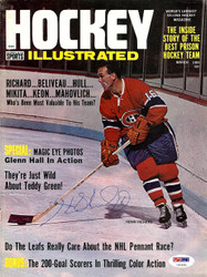 Henri Richard Autographed Hockey Illustrated Magazine Cover Montreal Canadiens PSA/DNA #U93591