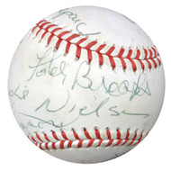 Celebrity & Movie Stars Multi Signed Autographed AL Baseball With 10 Signatures Including Jim Valvano, Leslie Nielsen & Alan Shepard PSA/DNA #W05045