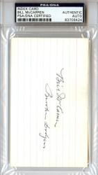Bill McCarren Autographed 3x5 Index Card PSA/DNA #83706424