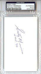 "Scotty Morrison Autographed 3x5 Index Card ""HOF '99"" PSA/DNA #83721090"