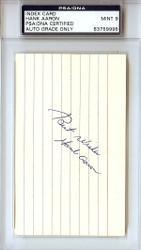 "Hank Aaron Autographed 3x5 Index Card ""Best Wishes"" Mint 9 Vintage 1950's Signature PSA/DNA #83759998"