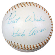 "Hank Aaron Autographed AL Baseball Atlanta Braves ""Best Wishes"" Vintage Playing Days Signature PSA/DNA #W05582"