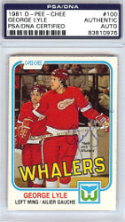 George Lyle Autographed 1981 O-Pee-Chee Card #100 Detroit Red Wings PSA/DNA #83810976