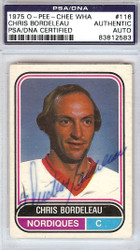 Chris Bordeleau Autographed 1975 O-Pee-Chee Card #116 Quebec Nordiques PSA/DNA #83812583