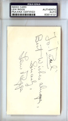 "Lew Riggs Autographed 3x5 Index Card Dodgers, Reds ""To Paul Best Wishes"" PSA/DNA #83814101"