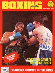 Riddick Bowe & Pierre Coetzer Autographed Boxing World Magazine Cover PSA/DNA #S50829