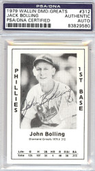 Jack Bolling Autographed 1979 Diamond Greats Card #312 Phillies PSA/DNA #83829580