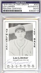 Lou Limmer Autographed 1979 Diamond Greats Card #342 A's PSA/DNA #83829718
