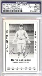 Dario Lodigiani Autographed 1979 Diamond Greats Card #339 A's PSA/DNA #83829722
