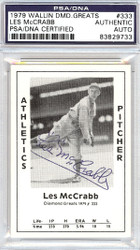 Les McCrabb Autographed 1979 Diamond Greats Card #333 A's PSA/DNA #83829733