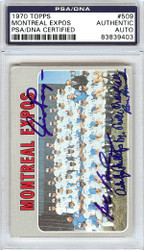 Dr. Mike Marshall, Bob Bailey, Adolfo Phillips, Ron Brand & Jim Gosger Autographed 1970 Topps Card #509 Montreal Expos PSA/DNA #83839403