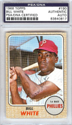Bill White Autographed 1968 Topps Card #190 Philadelphia Phillies PSA/DNA #83840817