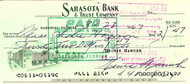 Heinie Manush Autographed Check Washington Senators Check #2247 SKU #100283