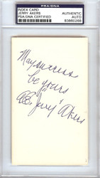 A.E. Jerry Akers Autographed 3x5 Index Card Washington Senators PSA/DNA #83860268