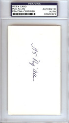 Horace Pug Allen Autographed 3x5 Index Card Brooklyn Dodgers PSA/DNA #83860273