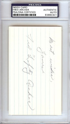 "Fred ""Lefty"" Archer Autographed 3x5 Index Card Philadelphia A's ""Best Wishes James"" PSA/DNA #83860301"