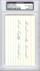 "Fred ""Lefty"" Archer Autographed 3x5 Index Card Philadelphia A's"" Best Wishes Leonard"" PSA/DNA #83860302"