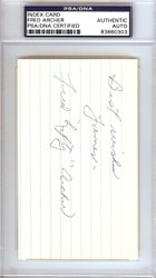 "Fred ""Lefty"" Archer Autographed 3x5 Index Card Philadelphia A's ""Best Wishes James"" PSA/DNA #83860303"