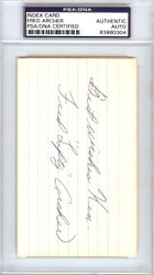 "Fred ""Lefty"" Archer Autographed 3x5 Index Card Philadelphia A's ""Best Wishes Ken"" PSA/DNA #83860304"