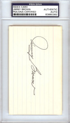 Jimmy Brown Autographed 3x5 Index Card St. Louis Cardinals PSA/DNA #83860382