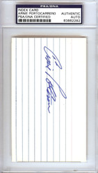 Arnie Portocarrero Autographed 3x5 Index Card Philadelphia A's PSA/DNA #83862282