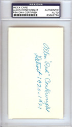 """Allen """"Red"""" Conkwright Autographed 3x5 Index Card Detroit Tigers PSA/DNA #83862776"""