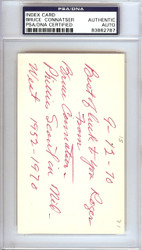 "Bruce Connatser Autographed 3x5 Index Card Phillies, Tigers ""To Roger"" PSA/DNA #83862787"