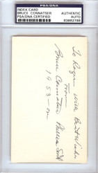 "Bruce Connatser Autographed 3x5 Index Card Phillies, Tigers ""To Roger"" PSA/DNA #83862788"