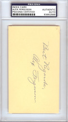 "Alex Ferguson Autographed 3x5 Index Card New York Yankees ""Best Regards"" PSA/DNA #83862888"