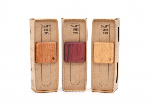 Smart Cube Vase available in Beech,  Purple Heart and Sapele wood colors.