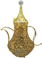 "Arabic Coffee Pot mubkhara stands 20"" tall with a jewel on top Available at AttarMist.com"