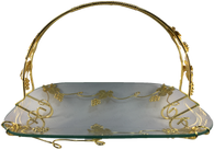 Elegant Glass tray with grape vine metal work - AttarMist.com