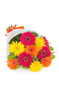 Multi color gerberas bouquet prepared by italian florists.