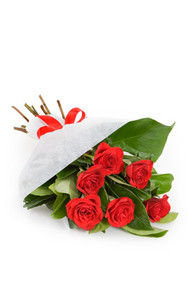 Bouquet composed of six red roses italian florist delivery.