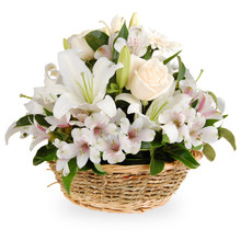 Send flowers in Italy including gerberas, lilies and alstroemerias in white tones arranged in basket.