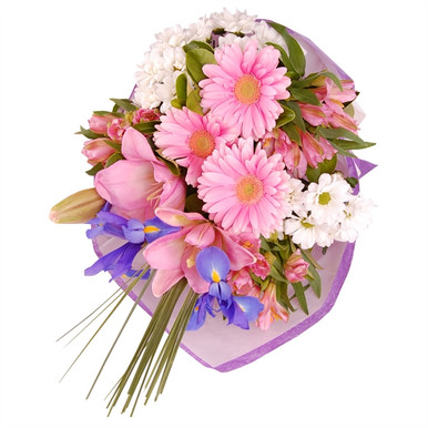 Mixed bouquet in pink, white and blue tones for delivery in Italy.