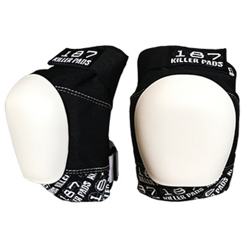 187 Killer Pads - Pro Knee Skateboard Pads - Black -  White