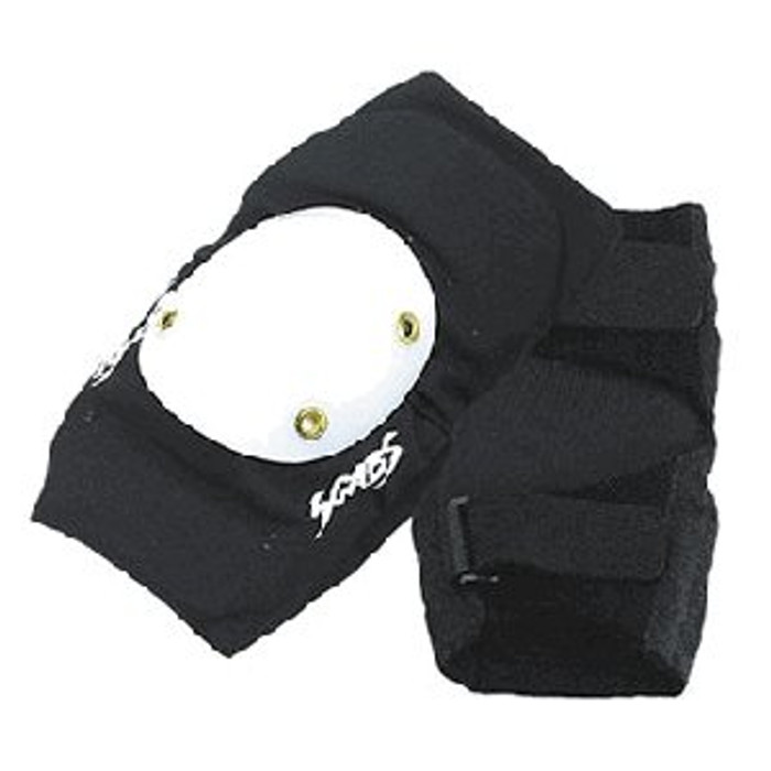 Smith Scabs Safety Gear - Elite ELBOW Pads - BLACK W/ WHITE CAPS