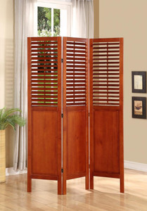3 Panel Solid Wood Room Divider with Shutters on Top Half, Walnut