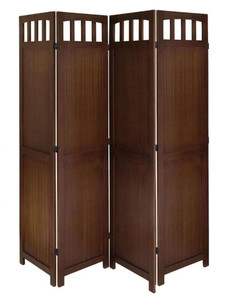4 Panel Solid Wood Room Divider in Antique Walnut