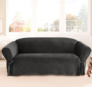 1 PC Soft Micro Suede Slipcover for Sofa. Black Color
