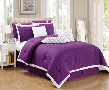 9 pc Purple and White Color, Pleated Microfiber Comforter Set