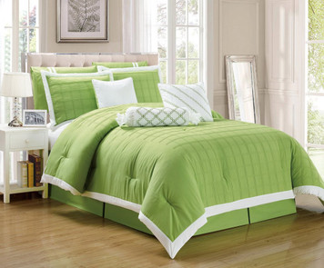 9 pc Lime and White Pleated Microfiber Comforter Set