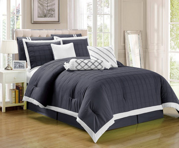 9 pc Dark Grey and White Pleated Microfiber Comforter Set