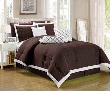 9 pc Brown and White Pleated Microfiber Comforter Set