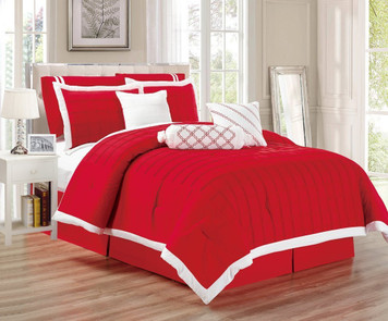 9 pc Red and White Pleated Microfiber Comforter Set