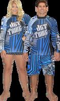 Longsleeve Rashguard Shockwave Blue PWC Jetski Ride & Race Apparel