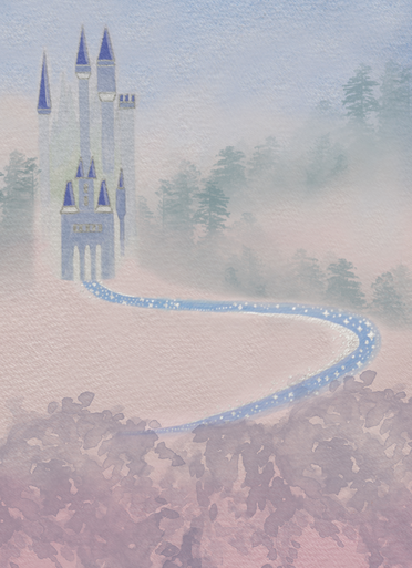 Beautiful pastel princess castle water colour hand painted   photographers backdrop.this is a gorgeous water colour painting and is lovely and soft effect.it is not meant to be super sharp but give a whimsical feel to your images